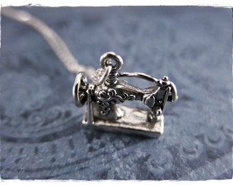 Silver Sewing Machine Necklace - Sterling Silver Sewing Machine Charm on a Delicate Sterling Silver Cable Chain or Charm Only