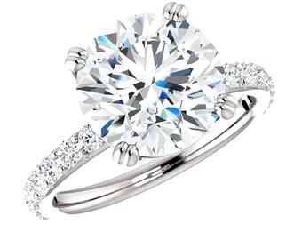 4 Carat Forever One Moissanite & Diamond Engagement Ring 14k White Gold, 10mm Moissanite Rings, Pave Rings, Moissanite Engagement Rings