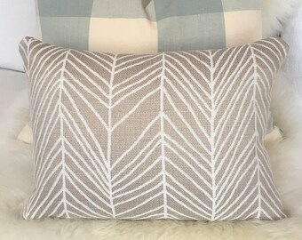 White & Tan Throw Pillow in Abstract Geometric Print w/ Brass Zipper - lumbar pillow