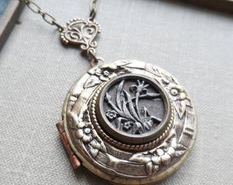 Antique Button, Locket Necklace, Lilies, Midsummer Flowers, Brass Rim, Tin Rim, Timeless Trinkets