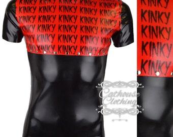 Latex rubber KINKY print T-shirt by Cathouse Clothing WRUB984