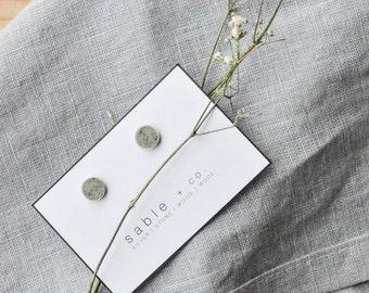 Sandstone Stud Earrings || simple circle stud, minimal jewelry, handmade earrings, gift for her