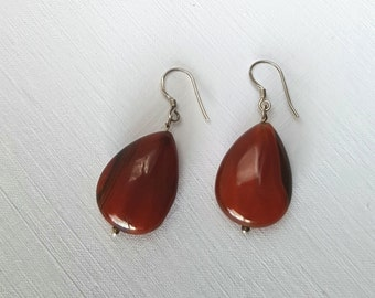 Red Agate Pear Bead 925 Sterling Silver Drop Earrings