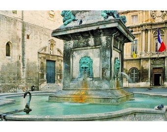 Fine Art Color Photography of Fountain in Arles of Provence France