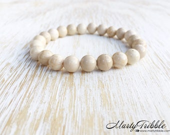 Riverstone Bracelet, Gemstone Bracelet, Neutral Bracelet, Gemstone Jewelry, White Bracelet, Earthy Bracelet, Boho Bracelet, Wedding Jewelry