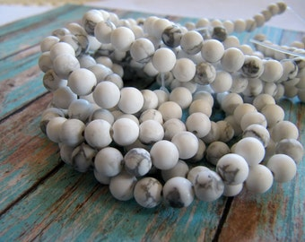 6mm Frosted Howlite Beads in Matte White and Gray, Round, 1 Strand, 15 inches, Approx 60 Pieces, Frosted Gemstones