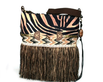 Zebra skin handbag fringed in brown black and cream - animal print purse one of a kind handmade crossbody bag bohemian style OOAK bag-