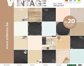 VINTAGE block assortment 30x30cm ' Artemio 40 pages TONED black and BEIGE SHABBY CHIC