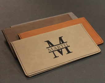 Personalized Faux Leather Checkbook Cover, Split Letter Monogram, Check Book Pocket, Engraved Checkbook Cover, Check Book Cover