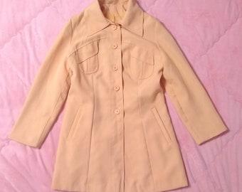 Vintage Pastel Orange Coat Jacket, Vintage Pastel Coat, Vintage Orange Coat, Peach Orange Vintage Coat, Pastel Coat, Pastel Jacket