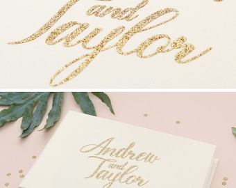 Instant Wedding Album Ivory Guest Book with Gold Glitter Lettering Instax Photo album, Birthday Album - by Liumy