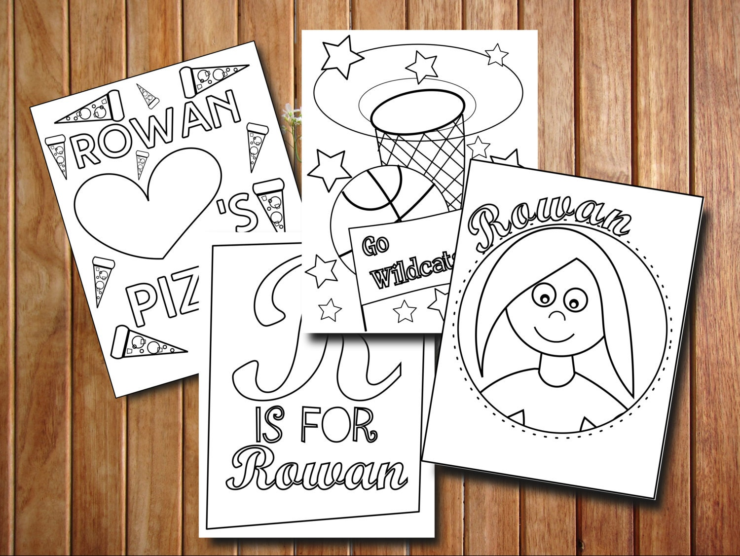 Personalized coloring pages custom party favors personalized