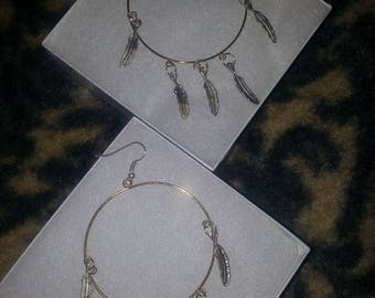 Silver & Gold Feathered Hoop Earrings