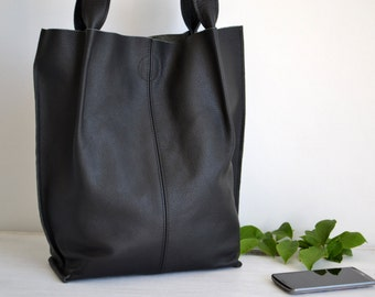 BLACK LEATHER TOTE Bag - Large Tote Bag - Italian Leather Handbag