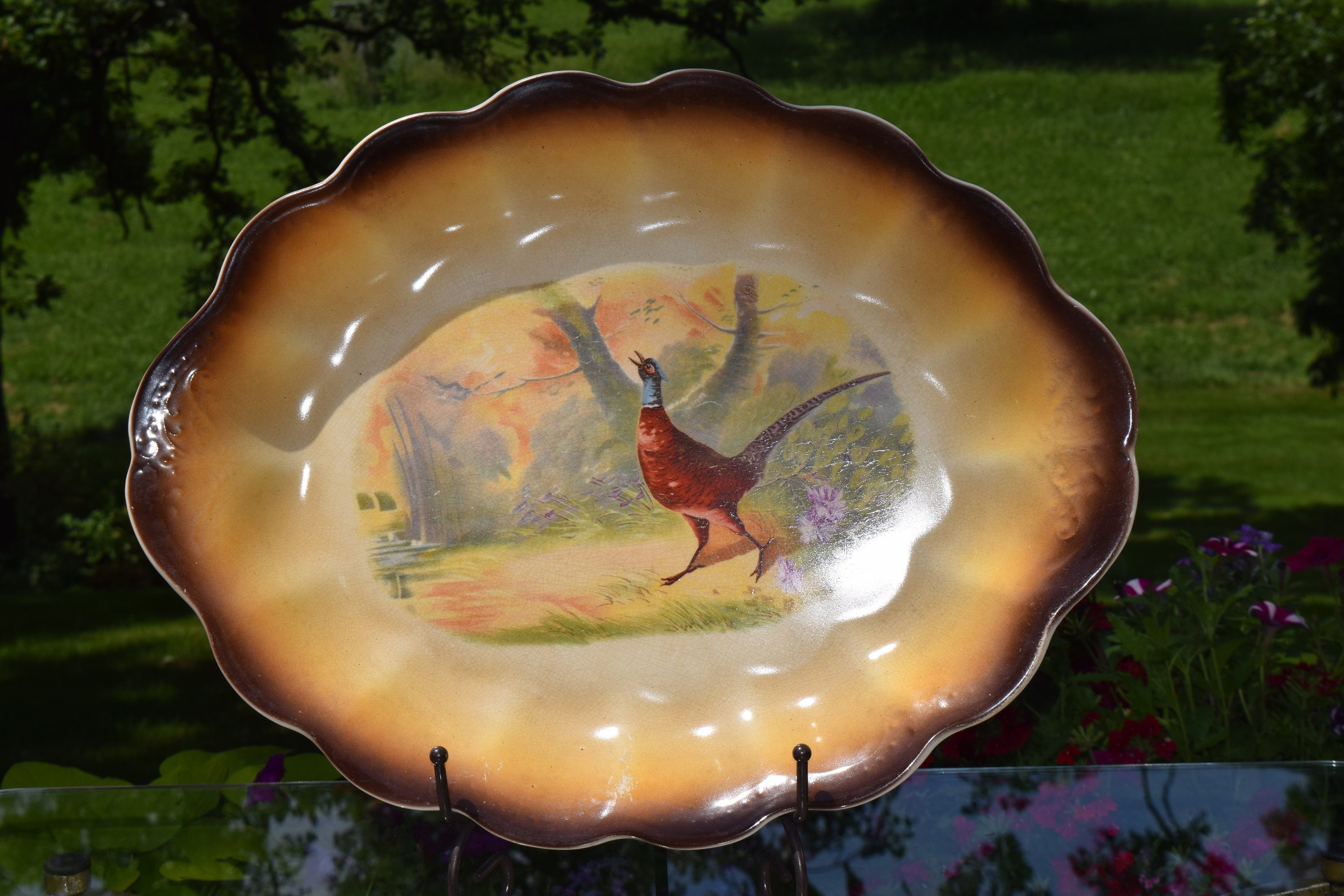 Antique French LeBeau Porcelain Pheasant Platter with 5 Plates circa 1900 Antique French Porcelain Game Bird Plates with Platter : antique french plates - Pezcame.Com