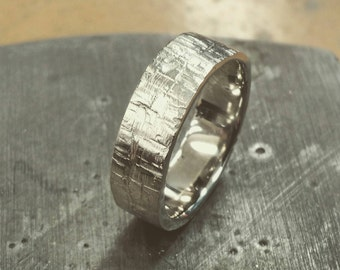 Natural Tree Bark Texture Wedding Band, 6 mm Wide 10K White Gold Ring, Comfort Fit