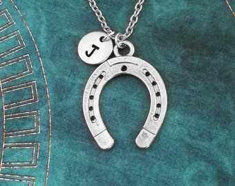 Horseshoe Necklace Silver Horseshoe Jewelry Horse Shoe Necklace Horse Necklace Horse Jewelry Lucky Necklace Lucky Jewelry Equestrian Gift