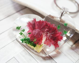 Red Carnation flower on resin heart keychain/keycharm - clear resin, real pressed flower, purple, flower of month, February