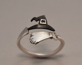 Ring Wizard Witche's Broom and Hat Ring Sterling Silver 925 Halloween Jewelry Halloween Night Funny Cool Halloween Gift Idea Witche's Ring