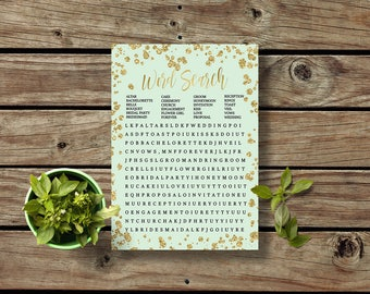 Mint Word Search Game Easy Bridal Shower Game Mint to be printable Funny group bridal shower game Mint Word Search green gold glitter brsg09