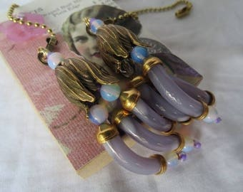 Deocrative Chain Pull Pair with Lavender Glass Noodle Beads and Brass Accents