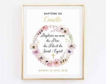 Baptism printable, Custom Baptism sign, Celebration sign, Personalized Baptism, Decoration Baby Baptism sign