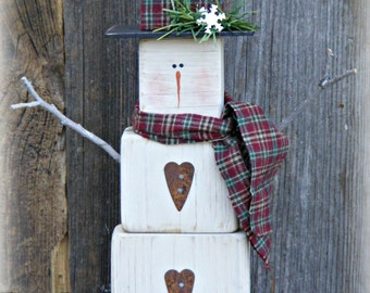 Primitive Wooden Snowman Table Sitter ~ Snowman Decor ~ Winter Decor ~ Christmas Decor ~ Mantle Decor ~ Primitive Decor ~ Rustic Snowman
