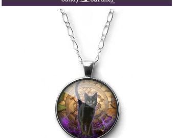 Black Cat familiar necklace pendant