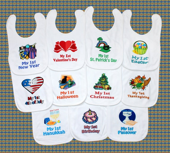 First Holiday Baby Bib Yearly Set New Baby Shower Gift Idea