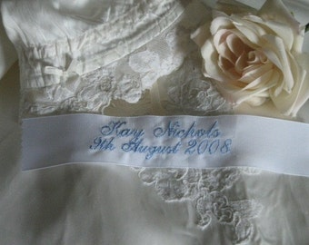 Embroidered Wedding Dress Gown Label Tag | Personalized | Monogrammed | Lucy's Pocket