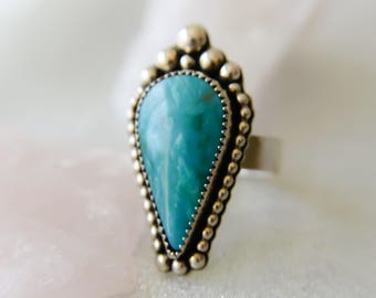Sterling Silver Ring, Turquoise Statement Ring, Sterling Silver Turquoise Ring, Silver Cocktail Ring, Gemstone RIng, Boho Ring, Etsy Gifts