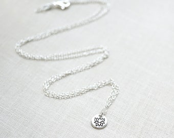 Mothers Day Gift Dainty Lotus Necklace Sterling Silver Disk Necklace Lotus Flower Necklace Petite Pendant Smallest Necklace Tiny Charm Yoga