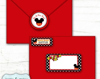 Mickey Mouse Party Address Labels and Envelope Seal / Stickers / Labels / Envelope Labels / Mickey Birthday - Print Your Own - FILE to PRINT