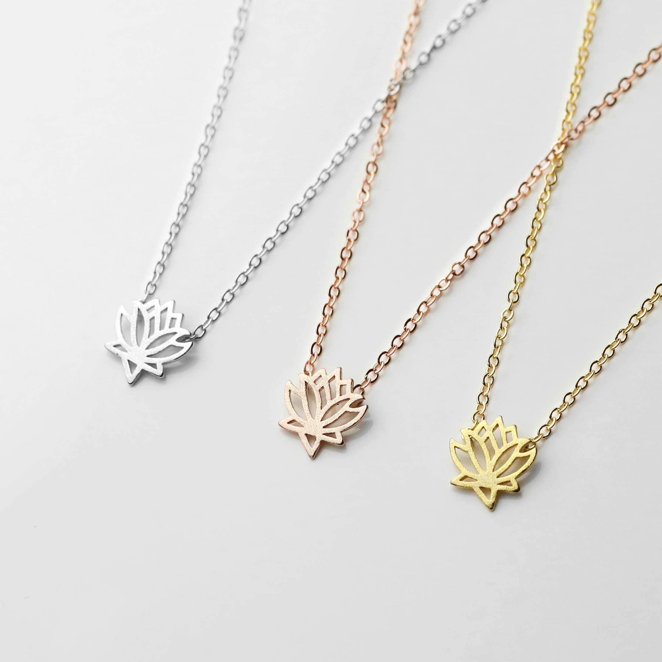 Lotus necklace yoga jewelry lotus flower jewelry lotus pendant zoom izmirmasajfo Images