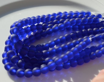 Cobalt Blue Frosted 6mm Round Glass Beads   8 inch strand