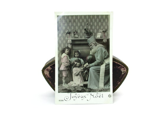 French Christmas Postcard Victorian Old World Santa Claus Père Nöel Children Antique Toys Tinted Photo Card Vintage 1900's Holiday Décor