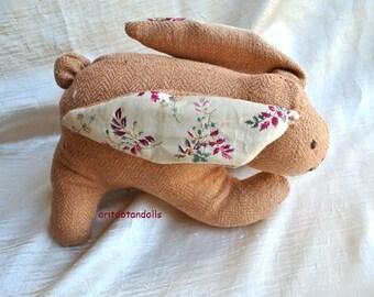 Bunny soft toy made of silk, stuffed with merino wool 10inch/25cm length, 6inch/15cm