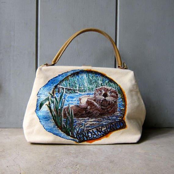80s Painted Sea Lion Basket Purse Natural Canvas Handbag Sewing Craft Bag Endangered Animal Awareness Purse Boho Bohemian Nature Lover Bag