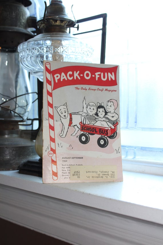 Vintage 1960s Pack-O-Fun Crafts Book Scrap Craft Magazine August September 1960