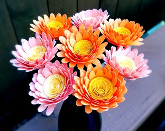 Paper Flower Bouquet - Pink and Tangerine Orange Daisies - Handmade Paper Flowers for Brides, Weddings, Showers, Birthdays, Mother's Day
