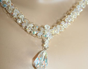 Gold crochet necklace AB Crystals and Crystal TearDrop pendant-fit for a bride