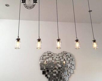 La Keswickl x Kilner pot mason suspendu 5 lumières plafond salle à manger chambre bureau cuisine table vintage edison à incandescence lampes pendentif café pub
