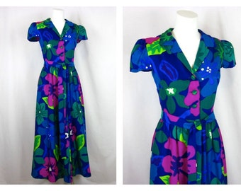 Vintage 60s Cotton Hawaiian Gown, Lord and Taylor, Sz S