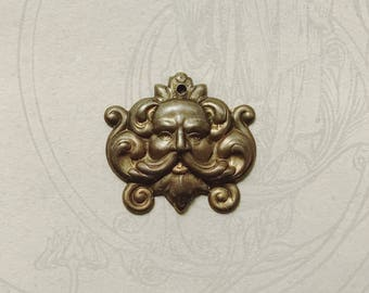 Antique Brass Hand Oxidized Green Man with Hole
