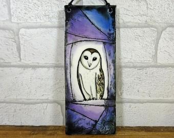 Barn Owl Hanging Tile