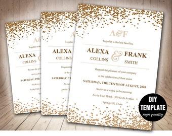 Diy wedding templatesprintable wedding products by paperfull stylish wedding invitation template in gold printable wedding invitationgold wedding invitation template stopboris Gallery