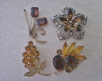 Vintage Rhinestone Brooches DeStash lot of four Amber Rhinestone Brooches