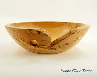 Wooden Yarn Bowl- Spalted Maple- Wooden Knitting Bowl- Unique Gift- Maine Fiber Tools