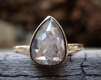 2 Carat Rose Cut Diamond, Grey Diamond Engagement Ring, Raw Pear Diamond Ring, 14k Gold, two carat diamond
