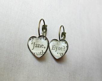 Jane Eyre Jewelry Earrings - Jewellery Heart Dangle Leverback - Bookworm Charlotte Bronte